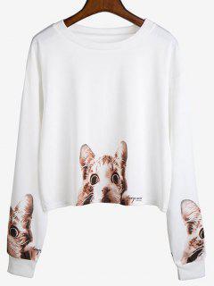 Drop Shoulder Cat Graphic Sweatshirt - White M
