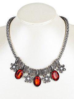 Collier Avec Perles En Strass Et Perles Fantaisie - Rouge