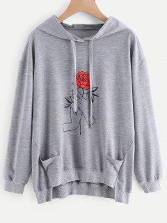 Floral Graphic Drawstring Hoodie - Gray M