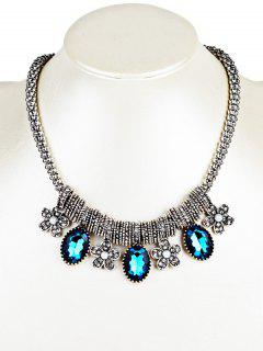 Rhinestone Floral And Faux Gem Embellished Beads Necklace - Blue