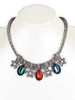 Rhinestone Floral And Faux Gem Embellished Beads Necklace