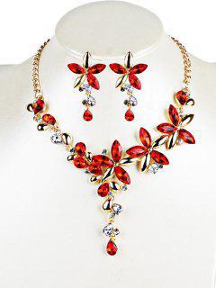 Ensemble Bijoux Boucles D'oreilles Et Collier Florals Décoratifs Vintage De Cristal  - Rouge