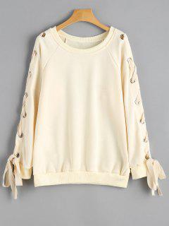 Raglan Sleeve Lace Up Sweatshirt - Palomino