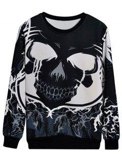 Monochrome Skull Print Sweatshirt - Black 2xl