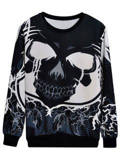 Monochrome Skull Print Sweatshirt - Black L
