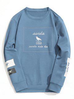 Graphic Marled Crew Neck Sweatshirt - Light Blue L