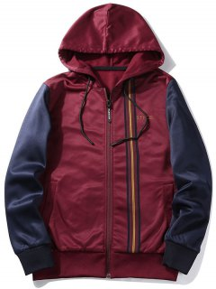 Fleece Style Graphic Zip Up Hoodie - Wine Red M
