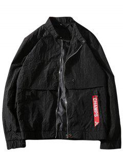 Zip Up Windbreaker Jacket - Black Xl