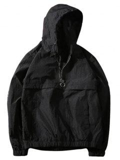 Half-zip Hooded Windbreaker - Black Xl