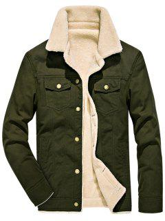 Chest Button Pocket Faux Shearling Denim Jacket - Army Green 4xl
