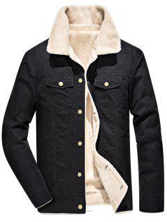 Chest Button Pocket Faux Shearling Denim Jacket - Black 4xl