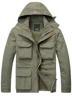Hooded Multi Pockets Zip Up Detachable Long Sleeve Jacket - Khaki 4xl