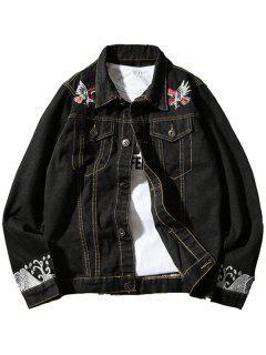 Chest Pocket Eagle Embroidery Denim Souvenir Jacket - Black Xl