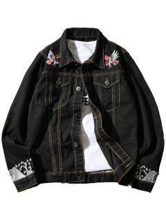 Chest Pocket Eagle Embroidery Denim Souvenir Jacket - Black L