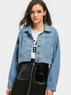 Cropped Lace-up Denim Jacket - Light Blue
