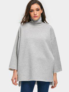 Turtleneck Fleece Oversized Sweatshirt - Gray