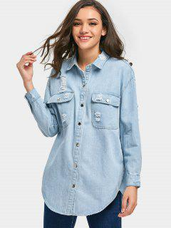Patch Distressed Denim Jacket - Light Blue