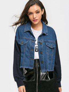 Cropped Frayed Hem Denim Jacket - Denim Blue