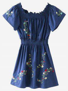 Ruffles Embroidered Off Shoulder Mini Dress - Blue M