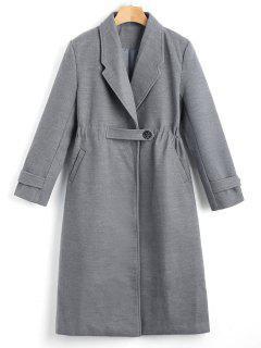 One Button Plain Reverspelz Mit Taschen - Grau S