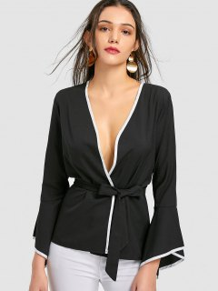 Belted Flare Sleeve Wrap Blouse - Black M