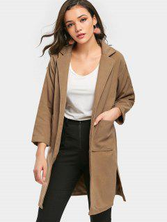 Side Slit Wrap Coat - Camel