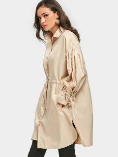 Drawstring Trench Coat - Apricot