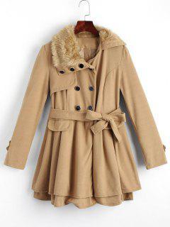 Faux Fur Trim Belted Skirted Coat - Camel L