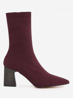 Pointed Toe Fold Over Block Heel Boots - Wine Red 34