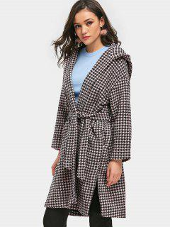 Hooded Houndstooth Wrap Coat - Pink M