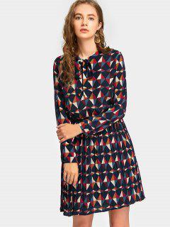 Vestido Plisado Con Lazo De Lazo Estampado Geométrico - Multi L
