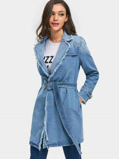 Frayed Trim Denim Wrap Coat - Light Blue M