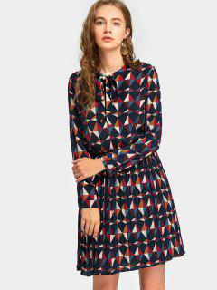Geometric Print Bow Tie Pleated Dress - Multi S