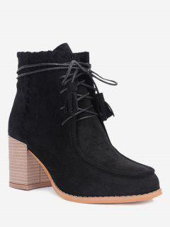 Stacked Heel Tassels Ankle Boots - Black 35