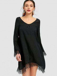 Long Sleeve Lace Trim Mini Shift Dress - Black S