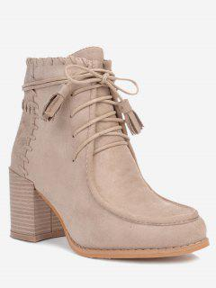 Stacked Heel Tassels Ankle Boots - Apricot 36