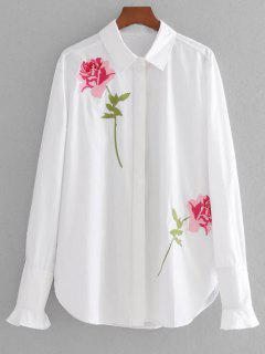 Chemise Brodée Rose à Manches Bouffantes - Blanc M