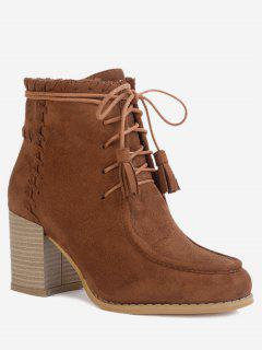 Stacked Heel Tassels Ankle Boots - Brown 36