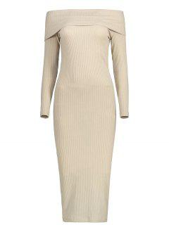Off The Shoulder Plain Knitted Dress - Light Khaki S
