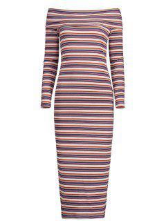 Robe Tricotée Rayées à Épaules Dénudées  - Rayure Xl