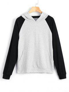 Hit Color Kangaroo Pocket Hoodie - Light Gray L