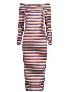 Off The Shoulder Striped Knitted Dress - Stripe Xs