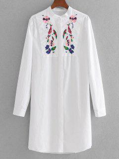 Longline Floral Gestreiftes Gestreiftes Hemd - Weiß S