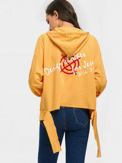Oversized Distressed Graphic Zip Up Hoodie - Ginger