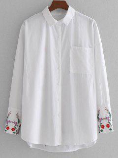 Camisa Bordada Floral Alta Con Bolsillo - Blanco L