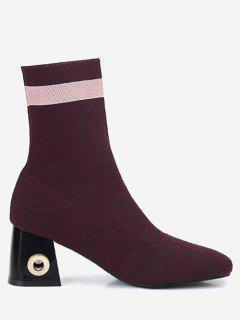 Grommet Striped Chunky Heel Boots - Red 36