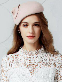 British Style Leaf Embellished Faux Wool Pillbox Hat - Pinkbeige
