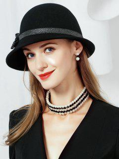 Bowknot Embellished Faux Wool Fedoras Hat - Black