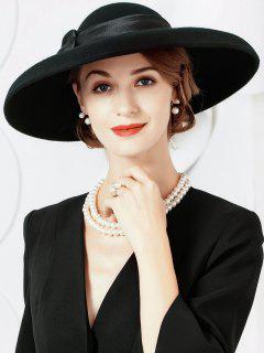 Bowknot Decorated Oversized Brim Ladies Hat - Black