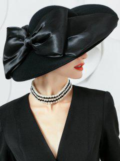 Bowknot Ribbon Embellished Woolen Ladies Hat - Black